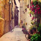 Straat in Pienza Stock Foto's