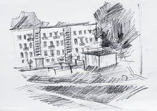Straat, potloodtekening Stock Foto