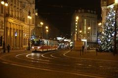 Straat Praag bij nacht Stock Foto's