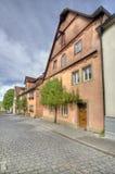 Straat in Rothenburg ob der Tauber, Duitsland Stock Foto