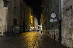 Straat in 's nachts Krakau Stock Afbeeldingen