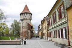 Straat in Sibiu, Roemenië Royalty-vrije Stock Fotografie