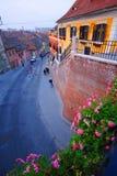 Straat in Sibiu, Roemenië Stock Foto