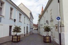 Straat in Szekesfehervar, Hongarije stock fotografie