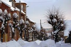 Straat in Tartu, Estland bij de winter royalty-vrije stock foto's