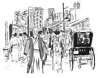 Straat in Tokyo met mensen in traditionele kleding royalty-vrije illustratie