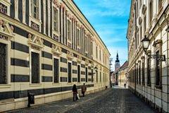 Straat in Trnava Royalty-vrije Stock Afbeeldingen