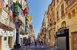 Straat in Valletta, Malta Royalty-vrije Stock Afbeeldingen