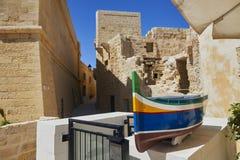 Straat van de citadel in Victoria, Gozo Stock Foto
