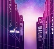 Straat van de nacht de Aziatische stad bij zonsondergang vector illustratie