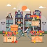 Straat van een kleine Europese stad Voorgevels van traditionele huizen Vector illustratie Royalty-vrije Stock Foto's
