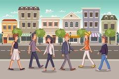 Straat van een kleurrijke stad met beeldverhaal bedrijfsmensen stock illustratie
