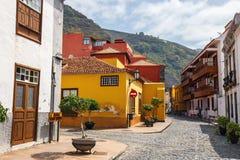 Straat van Garachico Stad op het Eiland van Tenerife, Kanarie, Spanje Stock Foto's