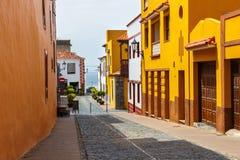 Straat van Garachico Stad op het Eiland van Tenerife, Kanarie, Spanje Royalty-vrije Stock Foto's