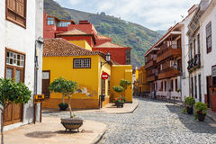 Straat van Garachico Stad op het Eiland van Tenerife, Kanarie, Spanje Royalty-vrije Stock Afbeeldingen