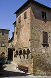 Straat van het Volterra de historische centrum San Lino Stock Foto