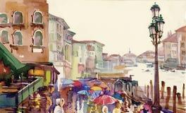 Straat van Oude die de herfststad in de vectorillustratie van de waterverfstijl wordt gemaakt Royalty-vrije Stock Afbeeldingen
