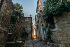 Straat van Oude Stad Groznjan stock fotografie