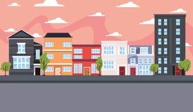 Straat van stads de stedelijke gebouwen vector illustratie