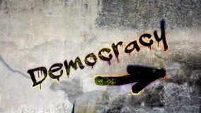 Straatgraffiti aan Democratie stock afbeelding