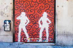 Straatgraffiti in Madrid, Spanje stock afbeelding