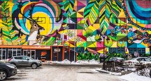 Straatgraffiti in Minsk Wit-Rusland royalty-vrije stock afbeeldingen