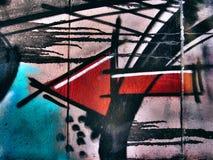 Straatgraffiti op de openbare muur abstracte pijl die linkerconcept richten Novi Sad Servië 08 14 2010 Stock Afbeeldingen