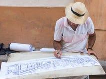 Straatillustrator, die het vierkant van de Kathedraal van Havan trekken Royalty-vrije Stock Foto