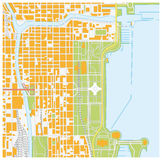 Straatkaart van Chicago van de binnenstad, Illinois Stock Foto