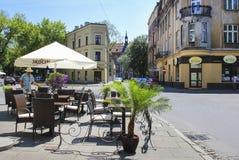 Straatkoffie in Kazimierz-kwart, Krakau, Polen Royalty-vrije Stock Foto