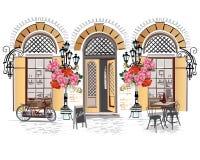 Straatkoffie met bloemen in de oude stad Royalty-vrije Stock Foto's
