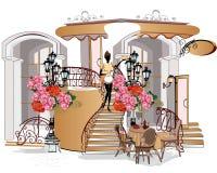 Straatkoffie met bloemen in de oude stad stock illustratie