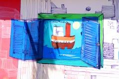 Straatkunst in de buurten van La Boca Stock Fotografie
