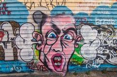 Straatkunst door een onbekende kunstenaar in Collingwood, Melbourne royalty-vrije stock fotografie
