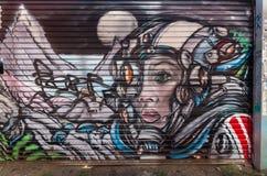 Straatkunst door een onbekende kunstenaar in Collingwood, Melbourne Stock Foto's