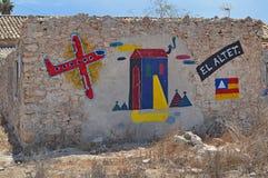 Straatkunst een helder Geschilderde Muur Stock Afbeelding