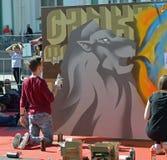 Straatkunst in het stadscentrum Royalty-vrije Stock Afbeeldingen