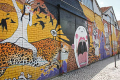 Straatkunst in Lissabon Portugal Stock Foto