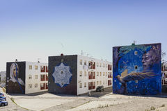 Straatkunst in Spaanse stad van Tarifa Royalty-vrije Stock Fotografie
