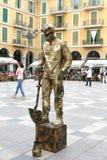 Straatkunstenaar en mijnwerker bij de Pleinburgemeester in Palma, Mallorca Royalty-vrije Stock Afbeeldingen