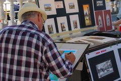 Straatkunstenaar op St Teken` s strandboulevard, Venetië, Italië Stock Foto