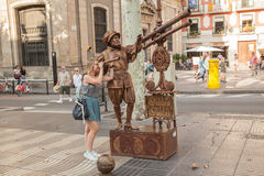 Straatkunstenaar in Ramblas in Barcelona Royalty-vrije Stock Foto's