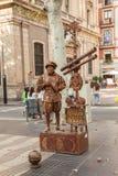 Straatkunstenaar in Ramblas in Barcelona Royalty-vrije Stock Foto