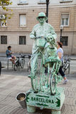 Straatkunstenaar in Ramblas in Barcelona Stock Fotografie