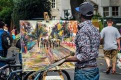 Straatkunstenaar, schilder bij Notting-Heuvel Carnaval Royalty-vrije Stock Afbeelding