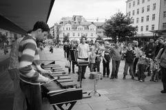 Straatkunstenaars in Bergen, Noorwegen Stock Foto's