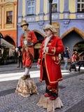 Straatkunstenaars, de Oude Stad van Praag, Tsjechische Republiek royalty-vrije stock foto