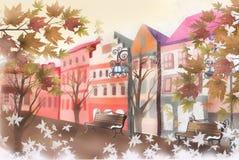 Straatlandschap van de recente herfst - Grafische textuur van het schilderen technieken Royalty-vrije Stock Afbeelding