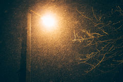 Straatlantaarn bij nacht tijdens een sneeuwval, een bodemmening royalty-vrije stock afbeelding