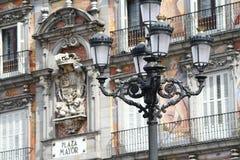 Straatlantaarn in de Burgemeester van het Plein in Madrid Royalty-vrije Stock Foto